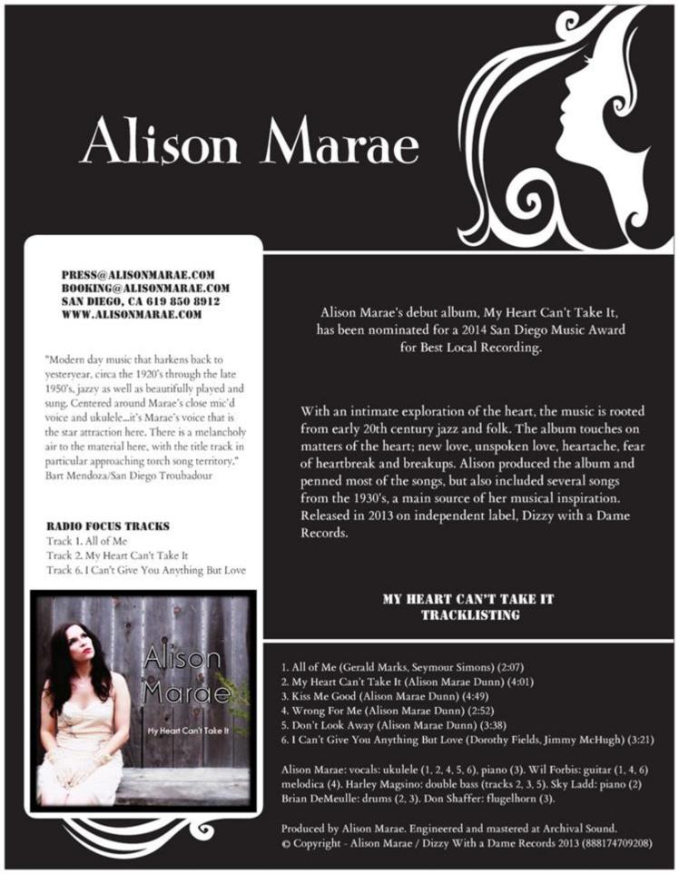 Alison Marae One Sheet