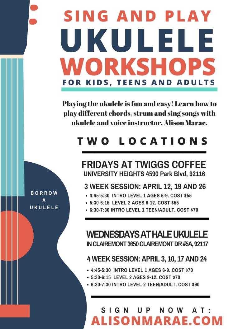 AprilWorkshopUkuleleSchedule San Diego